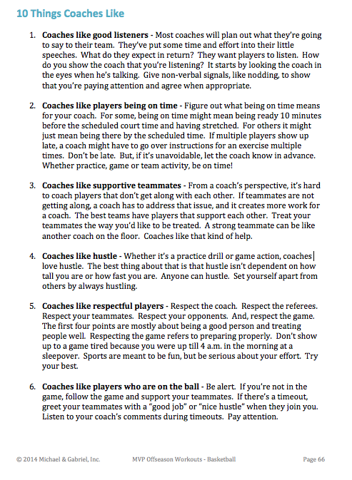10 Things Coaches Like excerpt