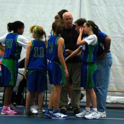 basketball team pregame huddle image