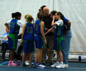 basketball team pregame huddle image