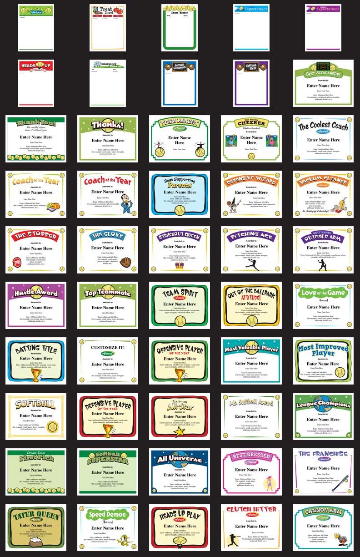 Softball Certificates Templates grid