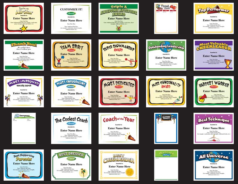 Cheerleading award templates cheerleader certificates cheerleading award templates yadclub Images