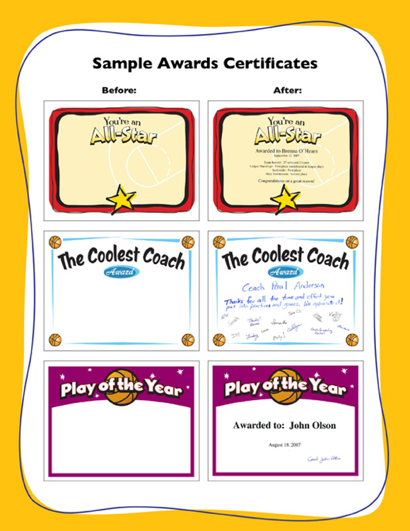 Basketball award certificate templates samples image